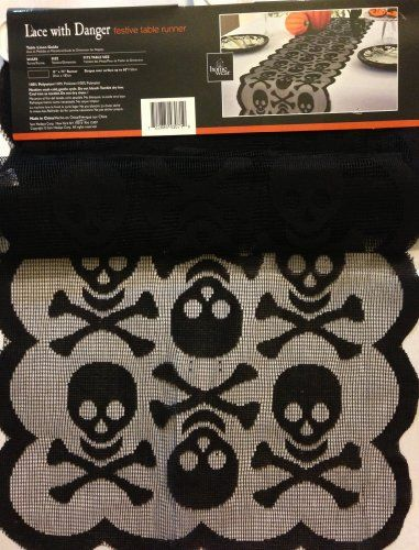 "Halloween Lace with Danger Festive Table Runner 13"" x 72"" - Black Skulls HOMEWEAR http://www.amazon.com/dp/B00FBV7OW0/ref=cm_sw_r_pi_dp_q7-Ztb0W4NYKAHDP"