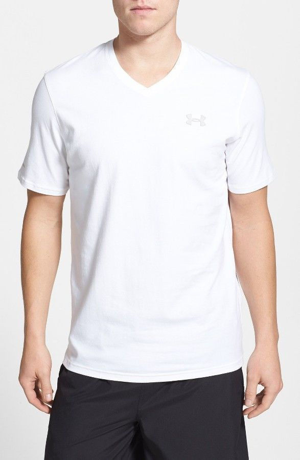 17f17d77 New Under Armour Mens White Charged Cotton V Neck Loose Short Sleeve T-Shirt  XL #Underarmour #ShirtsTops