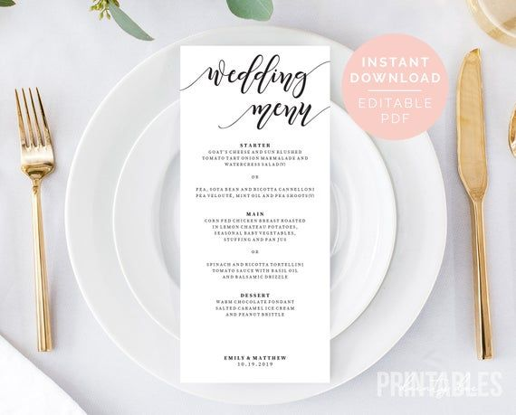 Editable Menu Template | Printable Wedding Menu | Editable Wedding Menu Template | DIY Menu | Party Menu | Event Menu | PDF Instant Download #weddingmenutemplate