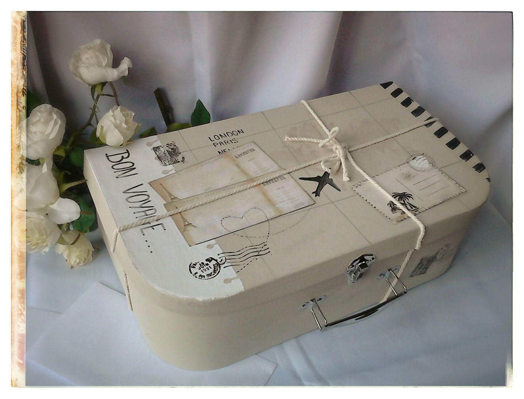 Urne de mariage valise bon voyage bo tes coffrets par for Le bon coin boite a couture