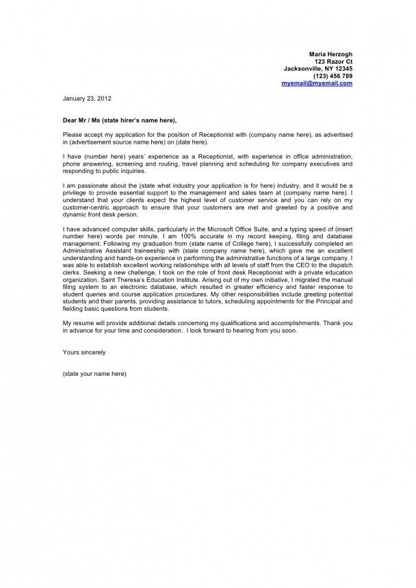 cover letter examples Cover Letter Example  Cover Letter - cover letter for medical receptionist