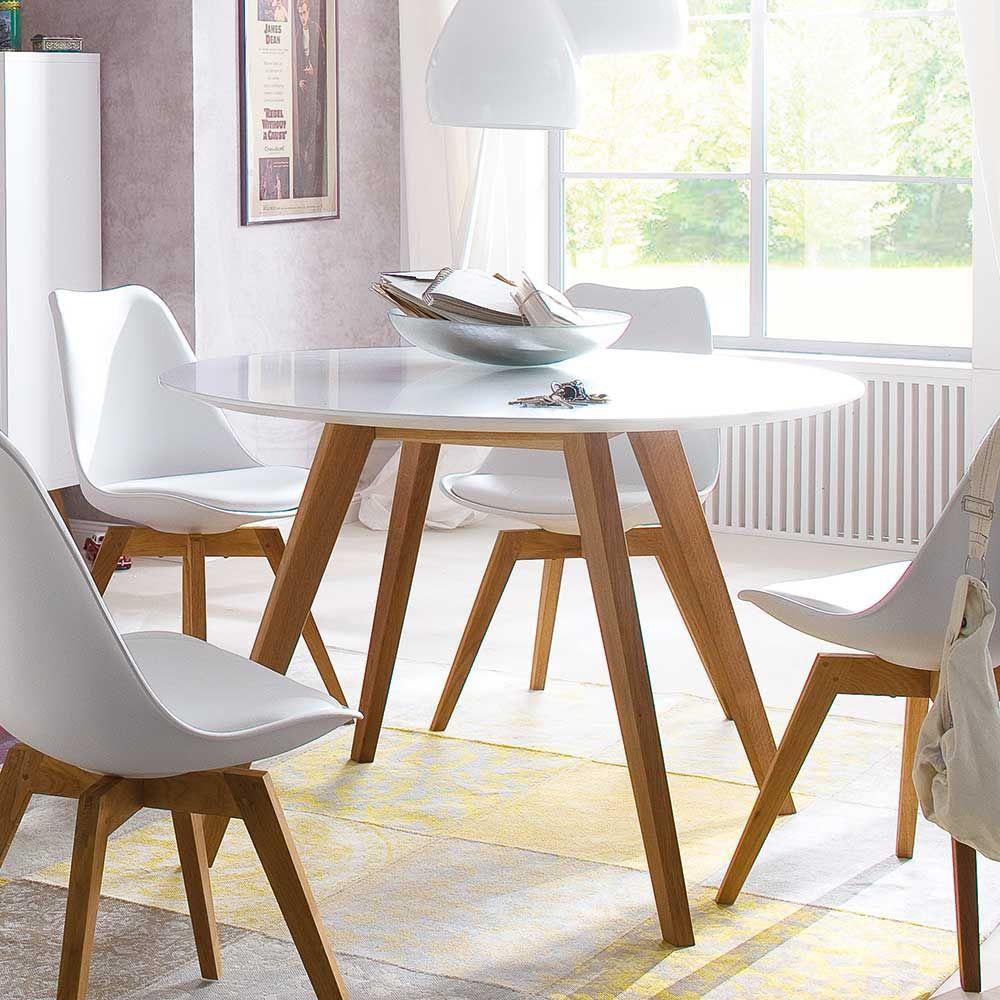 Esszimmertisch in Weiß Holz Rund Jetzt bestellen unter: https ...