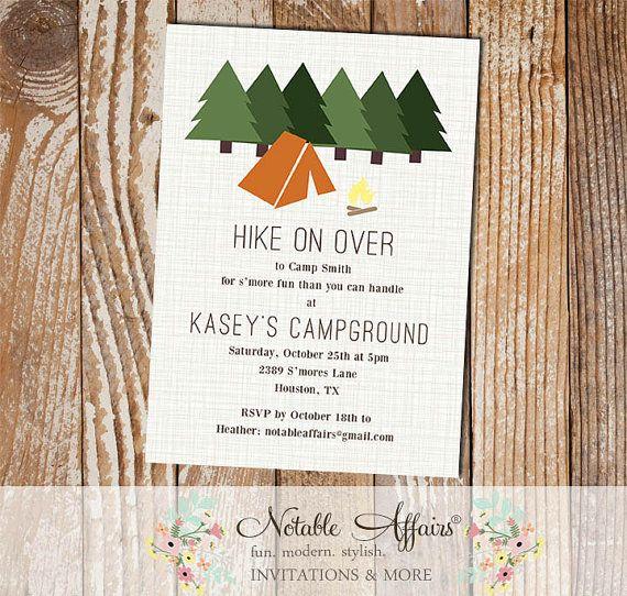 rustic hiking camping campfire bonfire birthday invitation smores