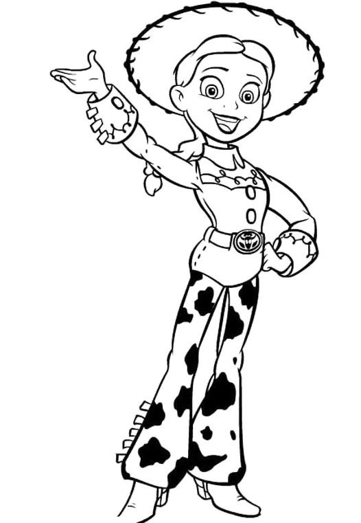 Toy Story Jessie Waving Coloring For Kids Toy Story Coloring