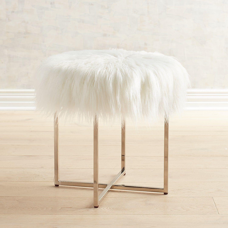Patton Vanity Stool With White Faux Fur Nickel Legs