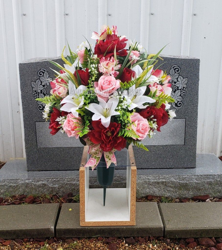 Spring Pink Burgundy Cemetery Ground Vase With Stake Cemetery Vase With Ground Stake 1 2 Vase Flower Vase P In 2020 Memorial Flowers Cemetery Flowers Flowers For Mom