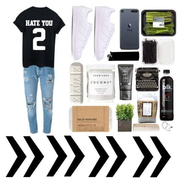 """""""Hate you Ⅱ"""" by noemyynoemyy ❤ liked on Polyvore featuring Levi's, adidas Originals, Forever 21, Herbivore, NARS Cosmetics, Le Labo and HAY"""