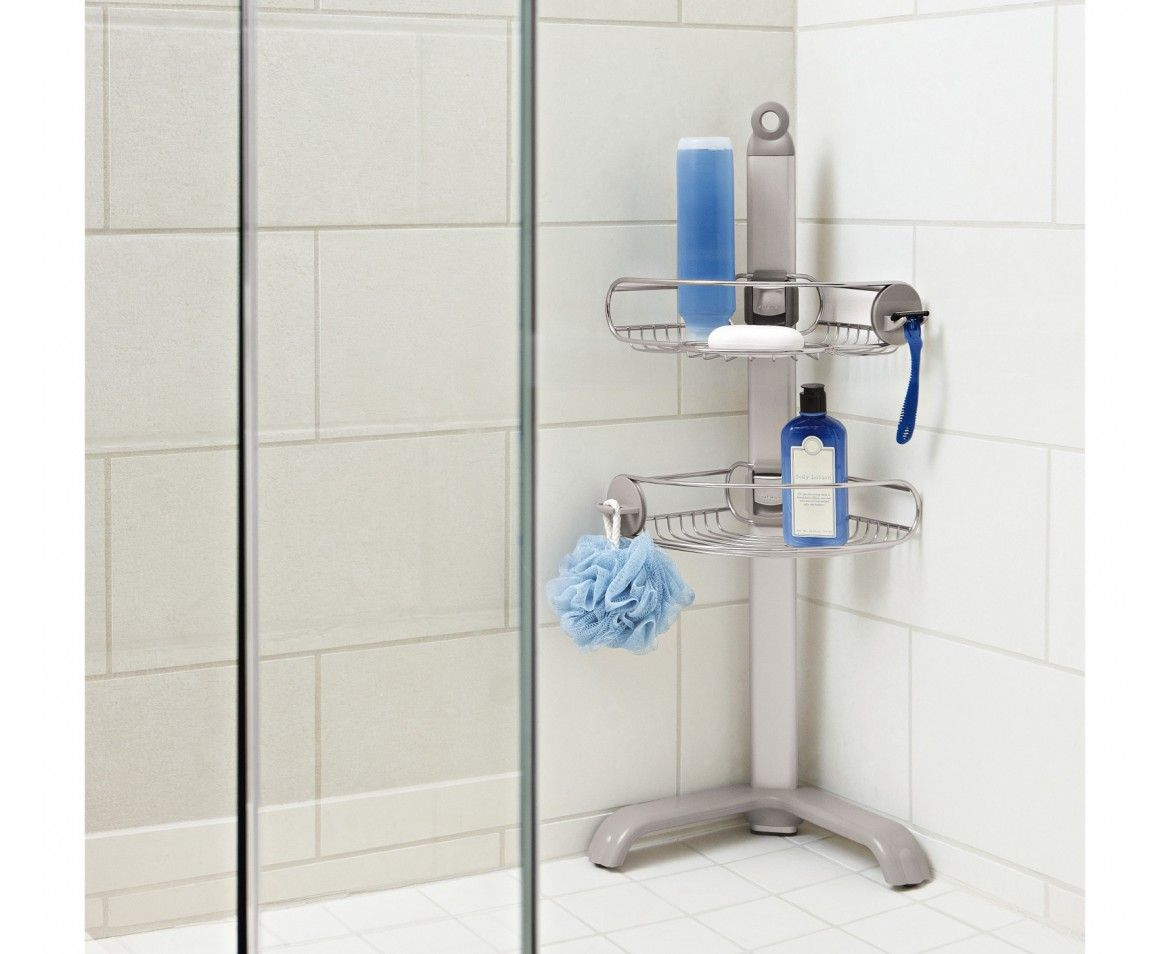 The Simplehuman Corrosion Resistant Stainless Steel Corner Shower Caddy  Maximizes Your Storage Space In Corners