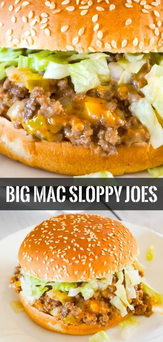 Big Mac Sloppy Joes are an easy ground beef dinner recipe perfect for weeknights. These sloppy joes are loaded with onions, pickles and cheddar cheese all tossed in a copycat Big Mac Sauce. #easydinners