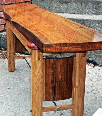 Live Edge Oak And Elm Slab Bench Table Tv Stand Natural Wood Wolfcreekmill Furniture On Artfire Live Edge Dining Table Wood Tv Stand Natural Wood