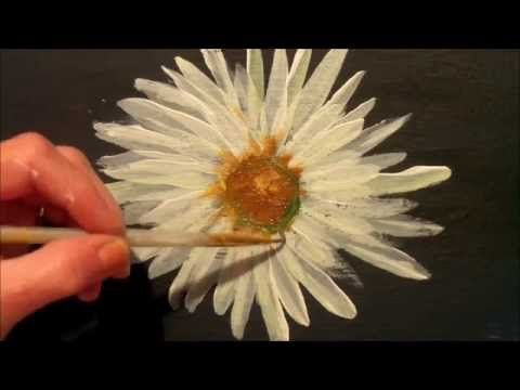 How To Paint A Daisy With Acrylic Paint Easy Step By Step Tutorial Youtube Drawing Writing