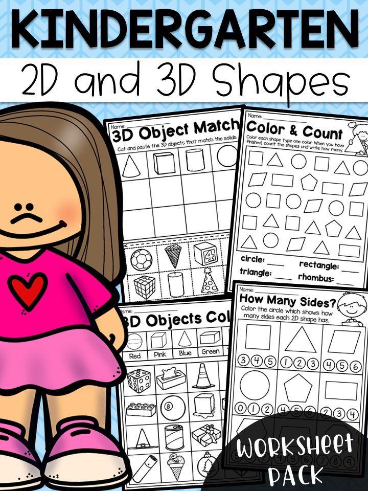 Printable Worksheets 2d worksheets : Kindergarten 2D and 3D Shapes Worksheets   3d shapes worksheets ...