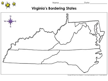 Virginia S Bordering States Map Blank Full Page King Virtue S