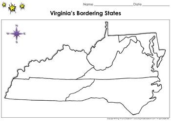 Virginias Bordering States Map  Blank  Full Page  King