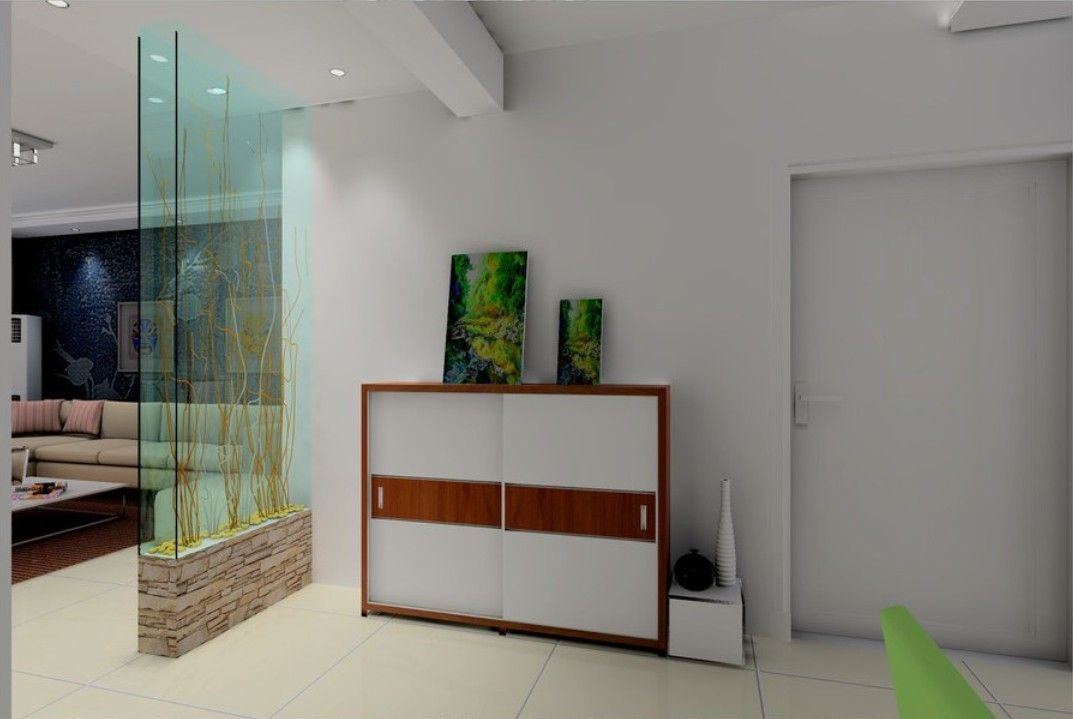 Glass partition between entrance and living room