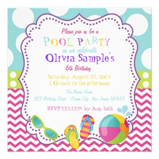 Pool Party Birthday Invitation Birthday And Anniversary Gifts - best of sample invitation to birthday party