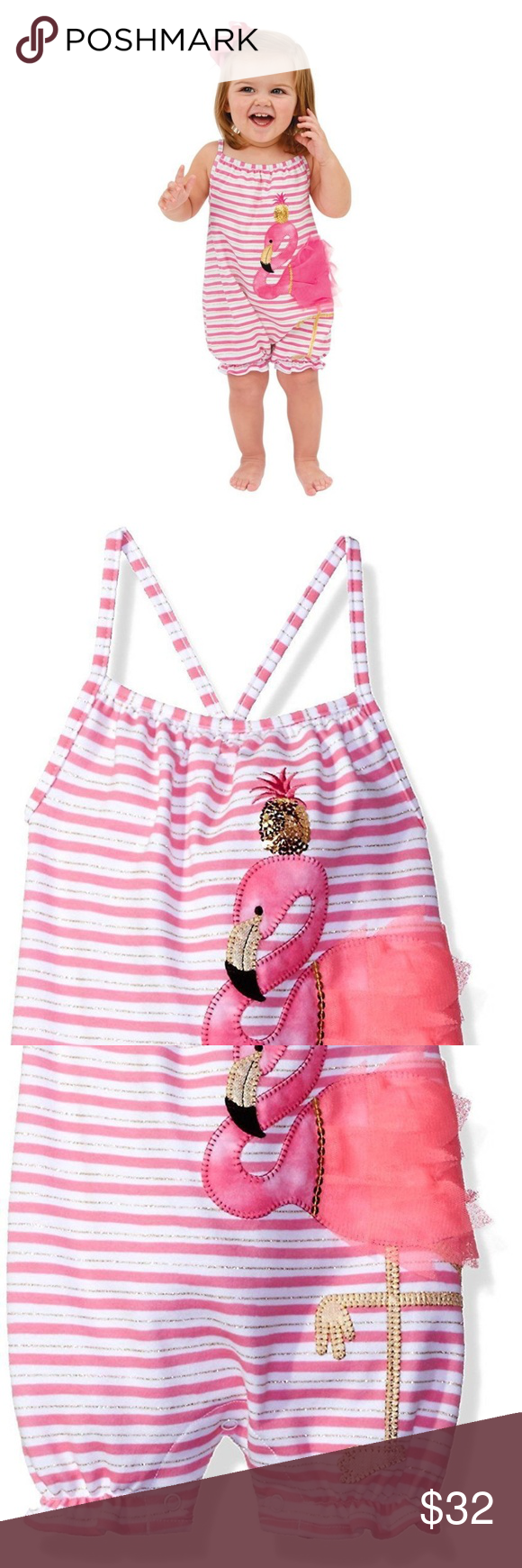 6ceb6d08a Mud Pie Flamingo Bubble Romper Outfit 1 Piece 9-12 NWT
