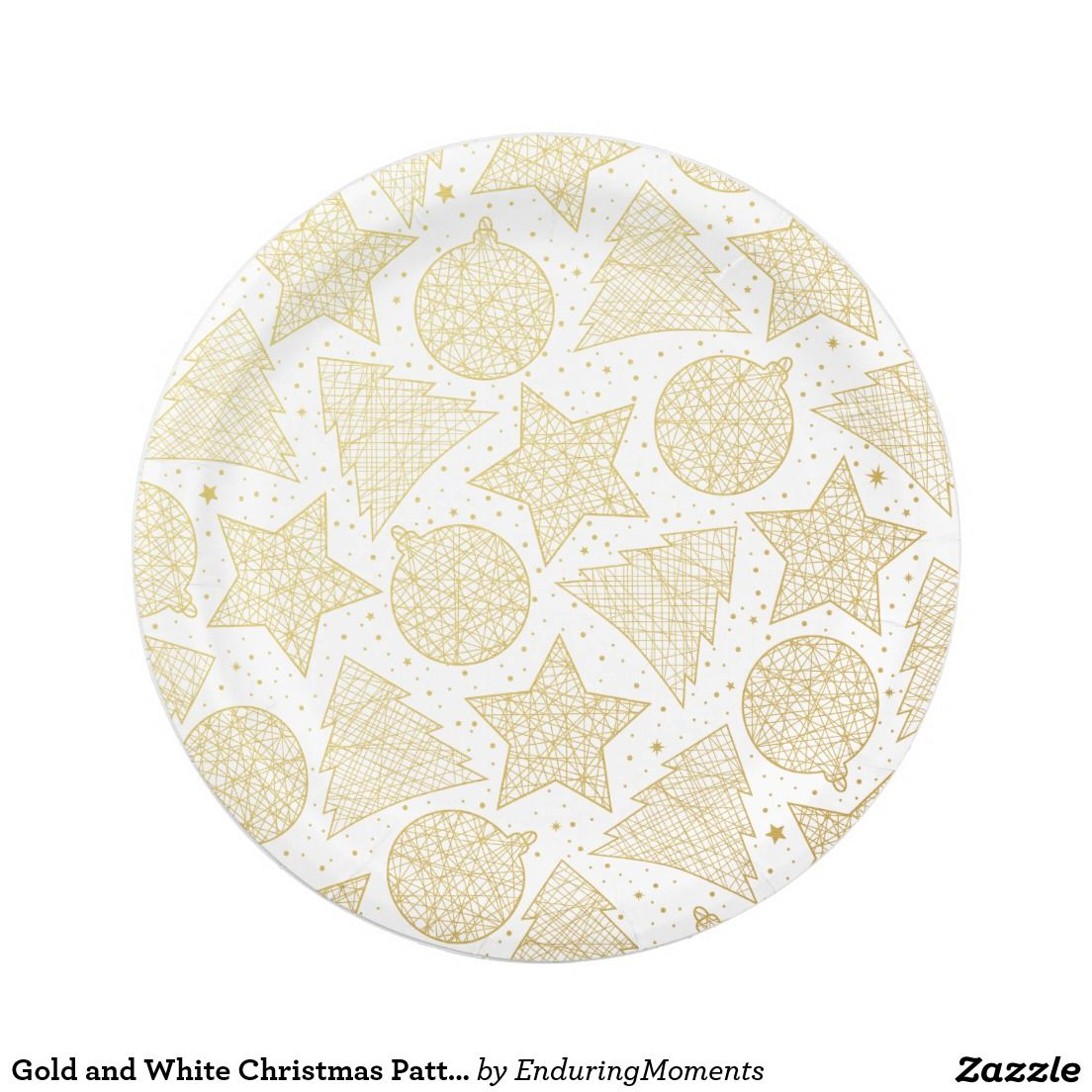 Gold And White Christmas Pattern Paper Plates Christmas Paper Plates Holiday Plates Plates