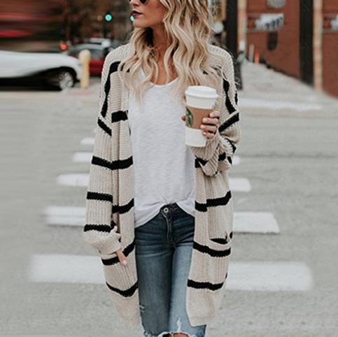 Ladies Jumper Beige Brown Stripe Pullover S M L XL