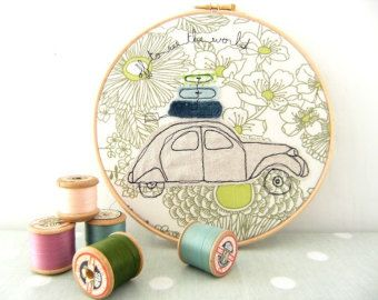 """Embroidery Hoop Art - 'Off to see the world' Textile Artwork of a 2CV car in green & blue - 8"""" hoop"""