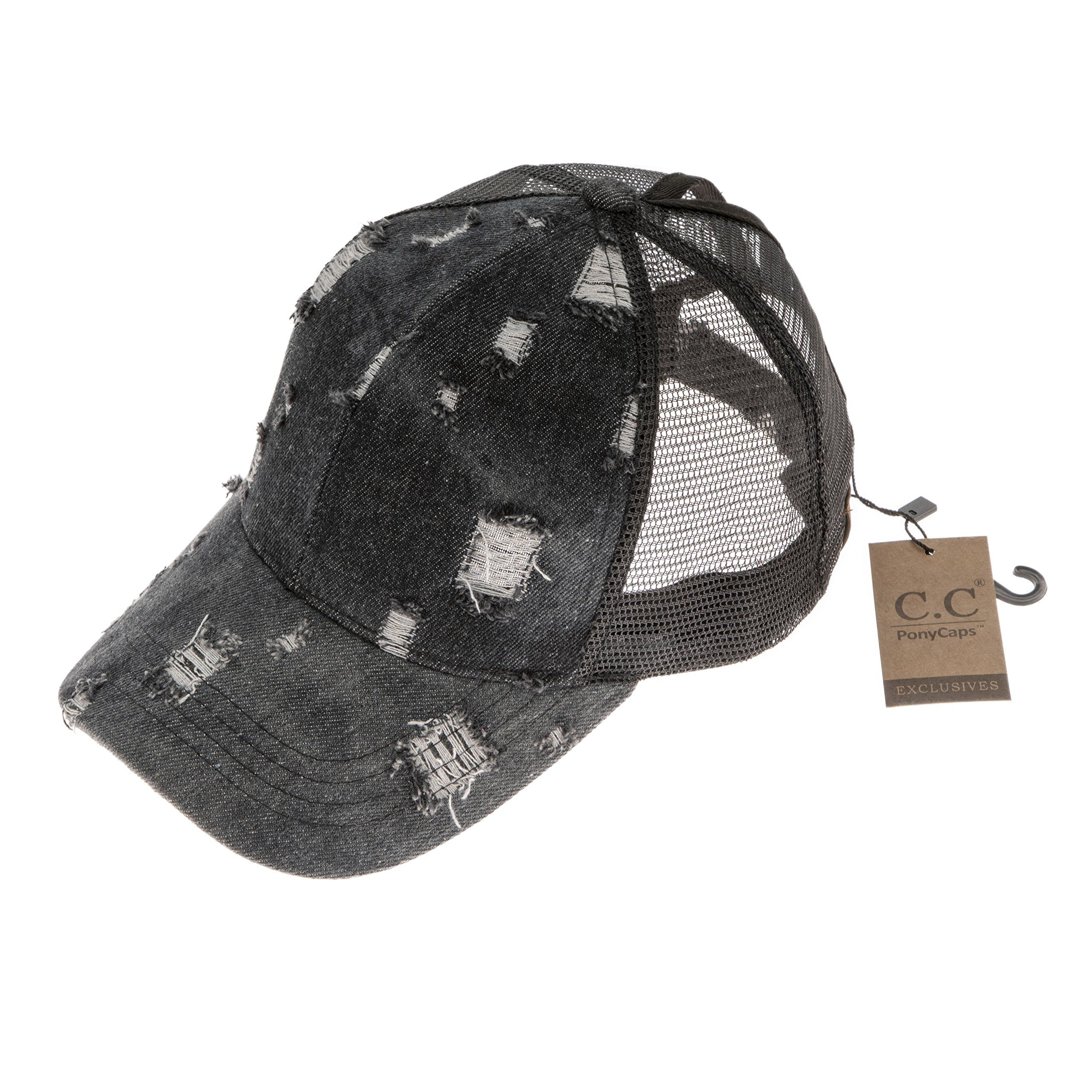 Hatsandscarf C.C Messy Buns Damaged Denim Fabric Trucker Hat with Ponytail  Baseball Cap BT8 Black    Click image to review more details. f48f1e21ec71