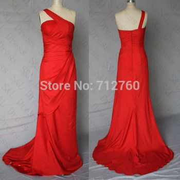 Cheap One Shoulder Long Floor Length Red Prom Dresses Under 100 99
