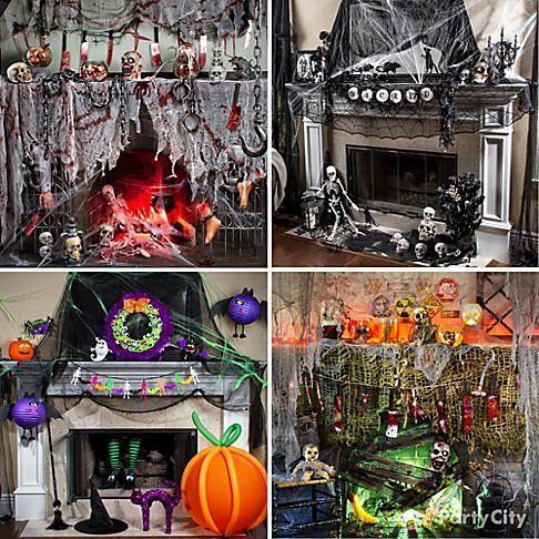 Hair-Raising Halloween Mantel Decorating Ideas - Party City As the ...