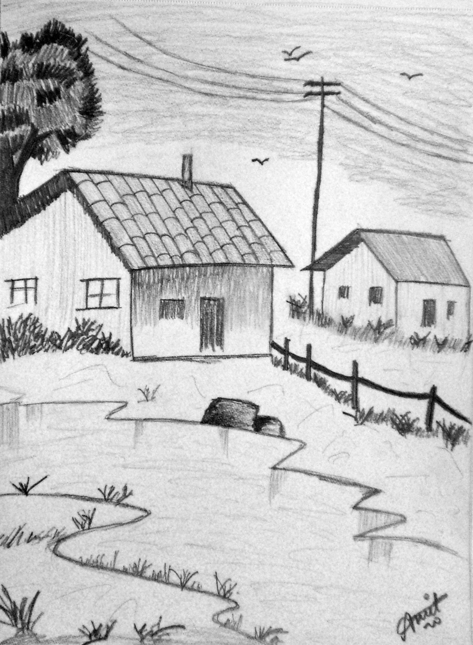 Simple Sketch Of Scenery Drawing Scenery Sketch Simple Sketch Landscape Pencil Drawings Landscape Drawing Easy Pencil Drawings Of Nature