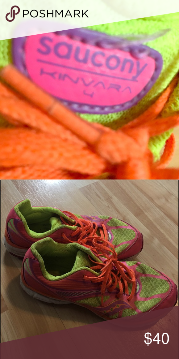 abfd56f341 Running Shoes Lightly worn running shoes with fluorescent colors & high  arches. Saucony Shoes Slippers
