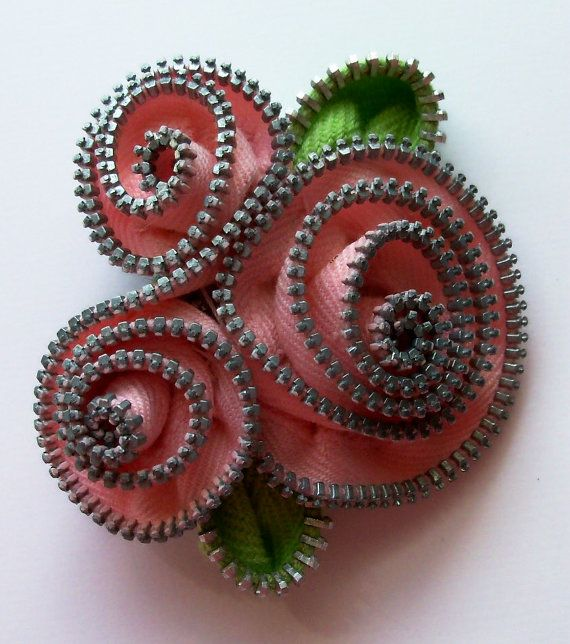 Pink Sprial Floral Brooch / Zipper Pin by ZipPinning by ZipPinning, $24.00