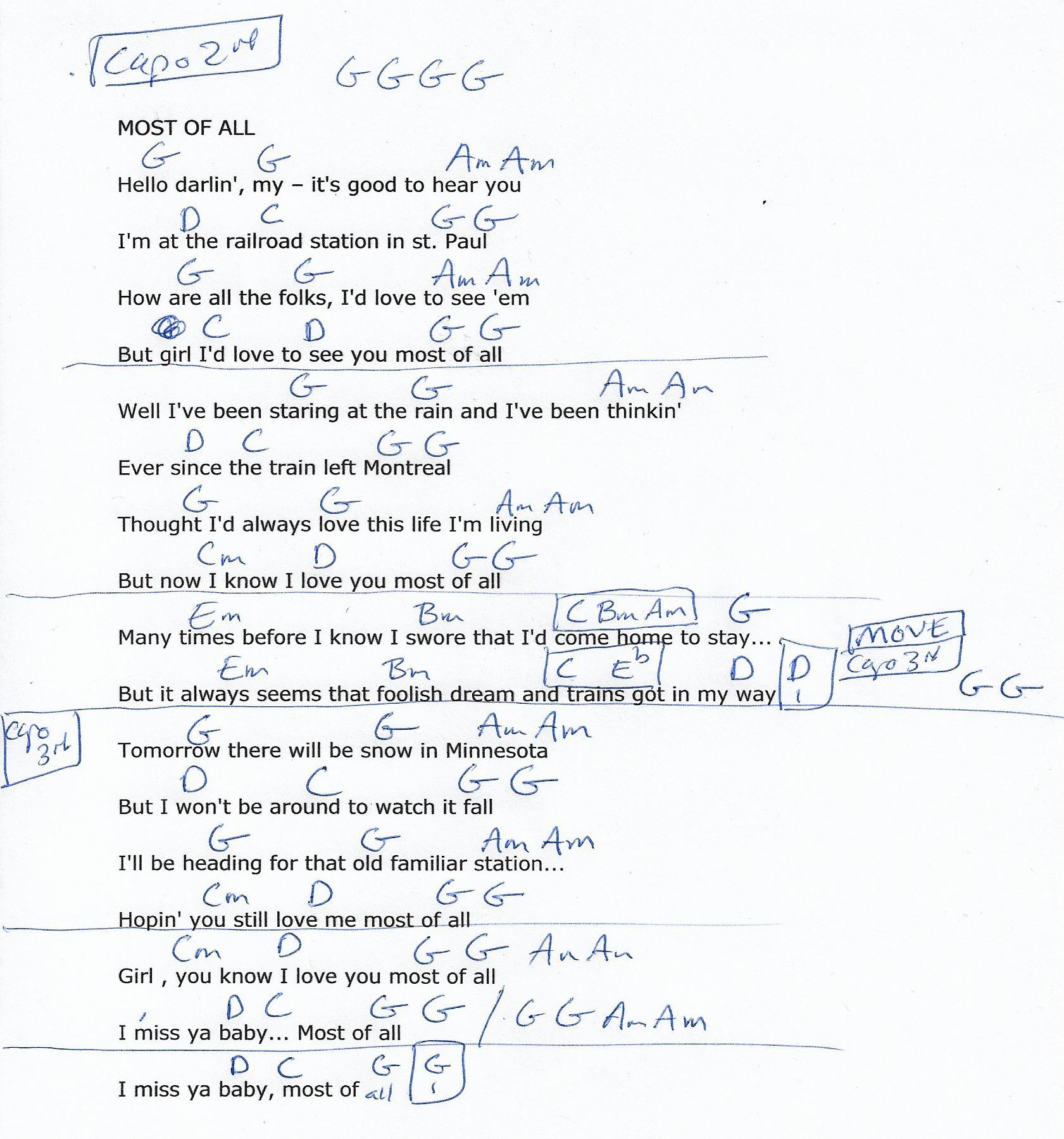 Most Of All Bj Thomas Guitar Chord Chart Capo 2nd And Later 3rd