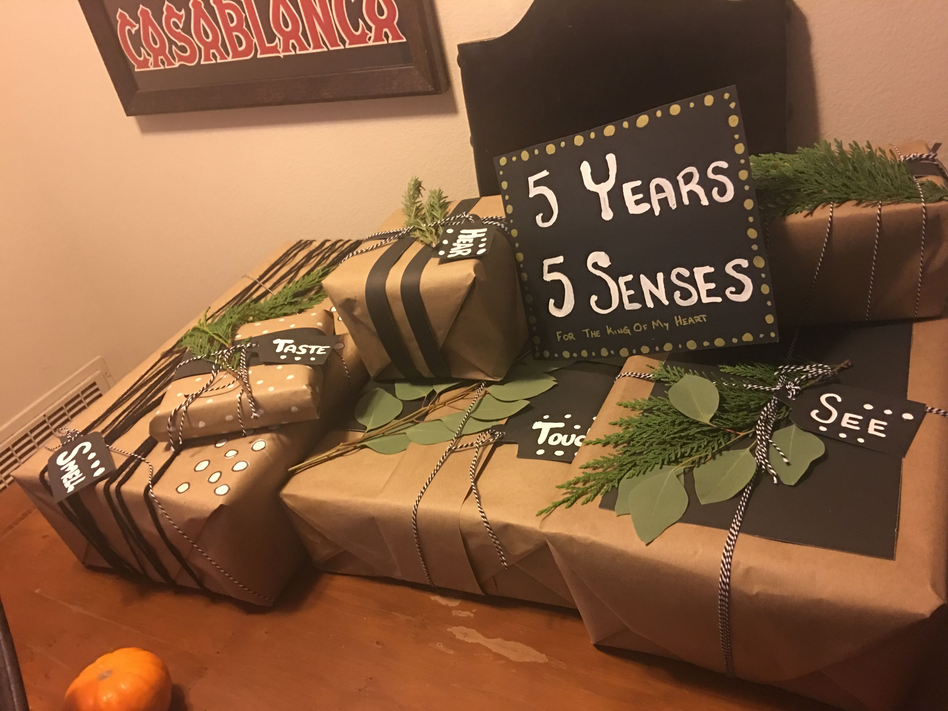 5 Senses Gift For Him. 5 Year Anniversary.