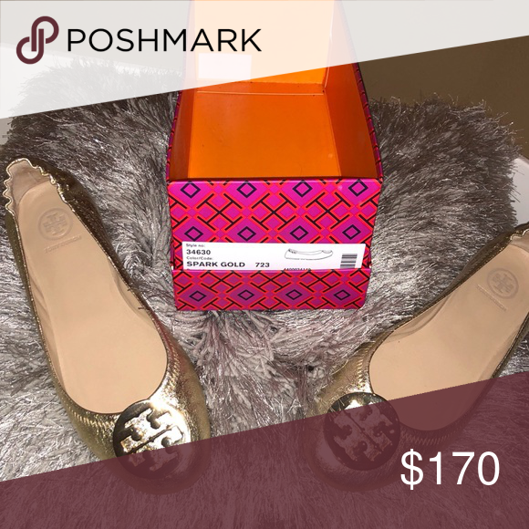 daf5f7d9bb81 Tory Burch Minnie Travel Ballet Spark Gold 8.5 Excellent Like New Worn Once  With No Signs Of Wear. Tory Burch Shoes Flats   Loafers