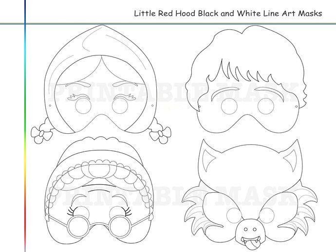 coloring pages little red riding hood tale printable black and white line art