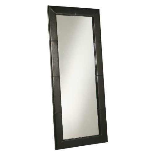 Abbyson Black Leather Floor Mirror 31w X 70h In
