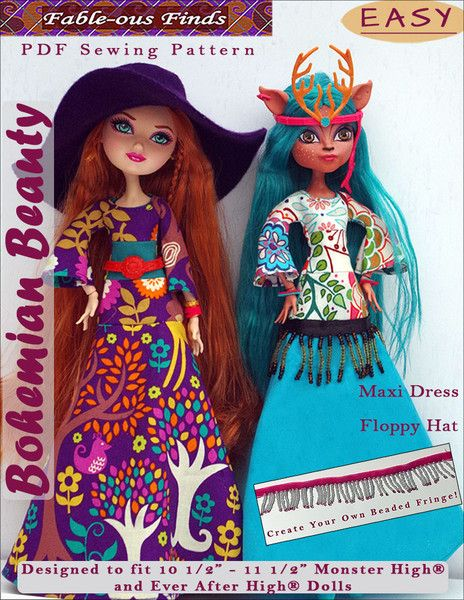 Bohemian Beauty Maxi Dress and Floppy Hat Pattern for Monster High ...