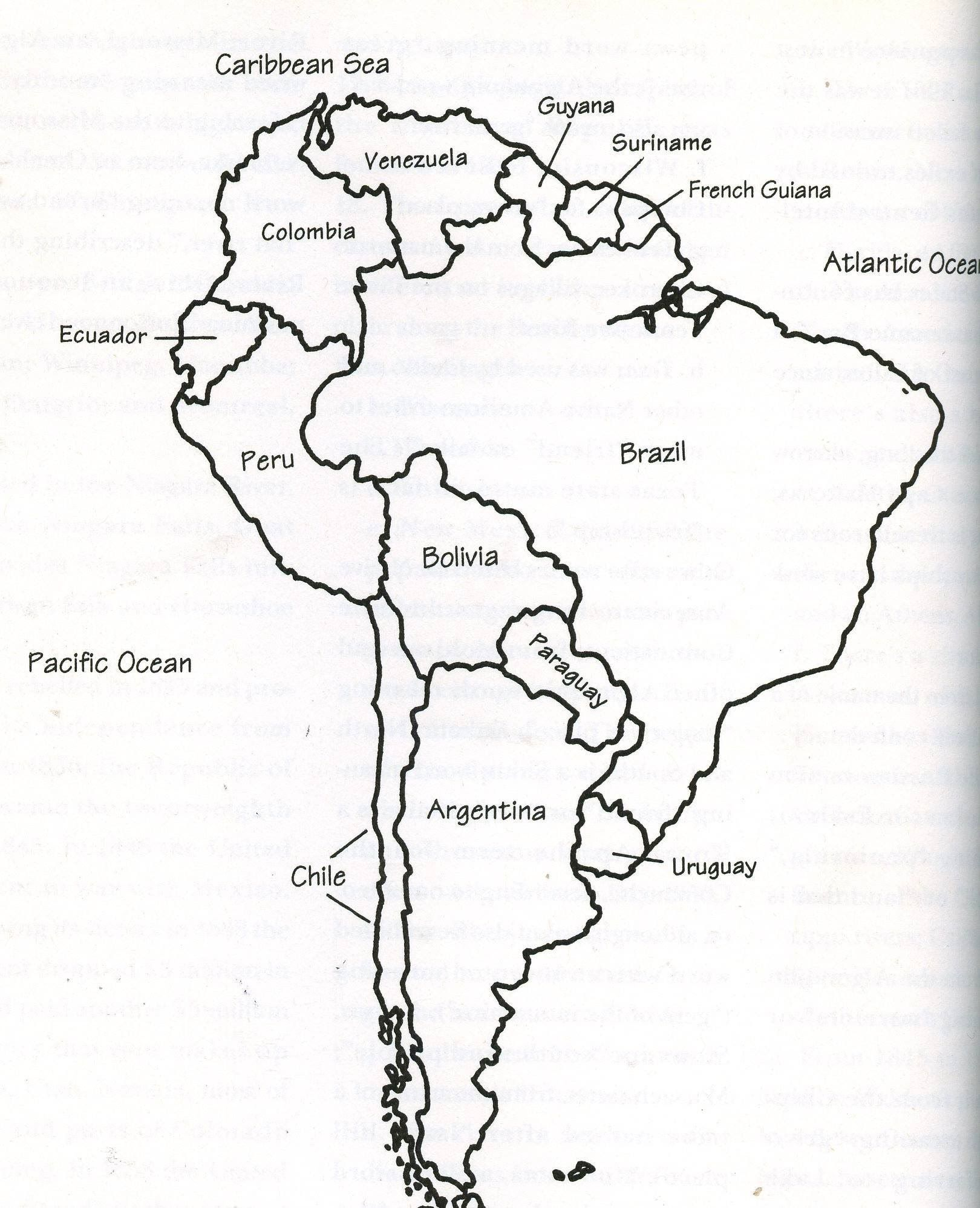 Latin America Landforms Map Black And White
