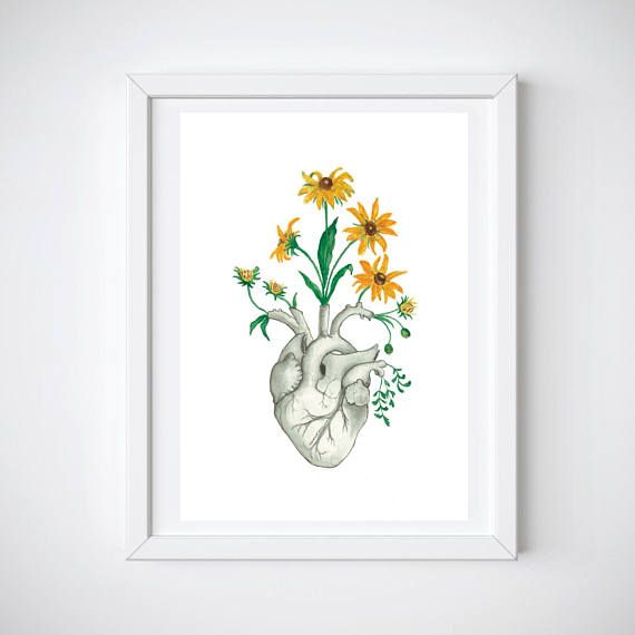 Print Of Floral Heart Anatomy Watercolour Painting Made By Me