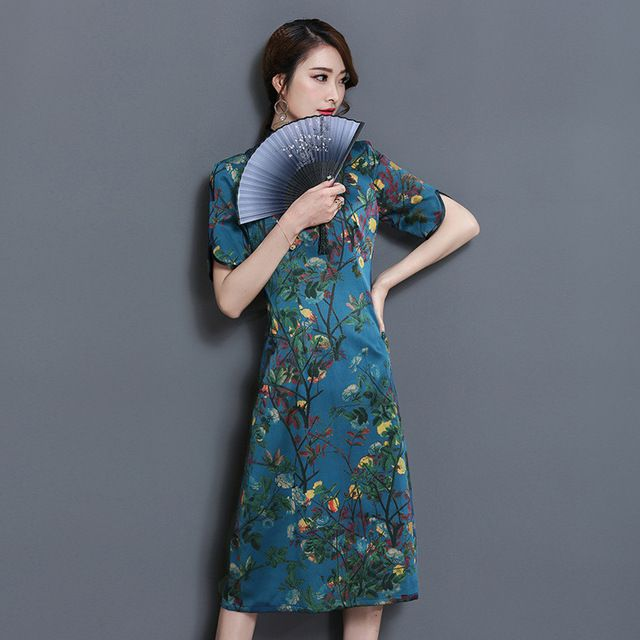 Classic Silk Short Sleeves Daily Qipao Dress National Style ...