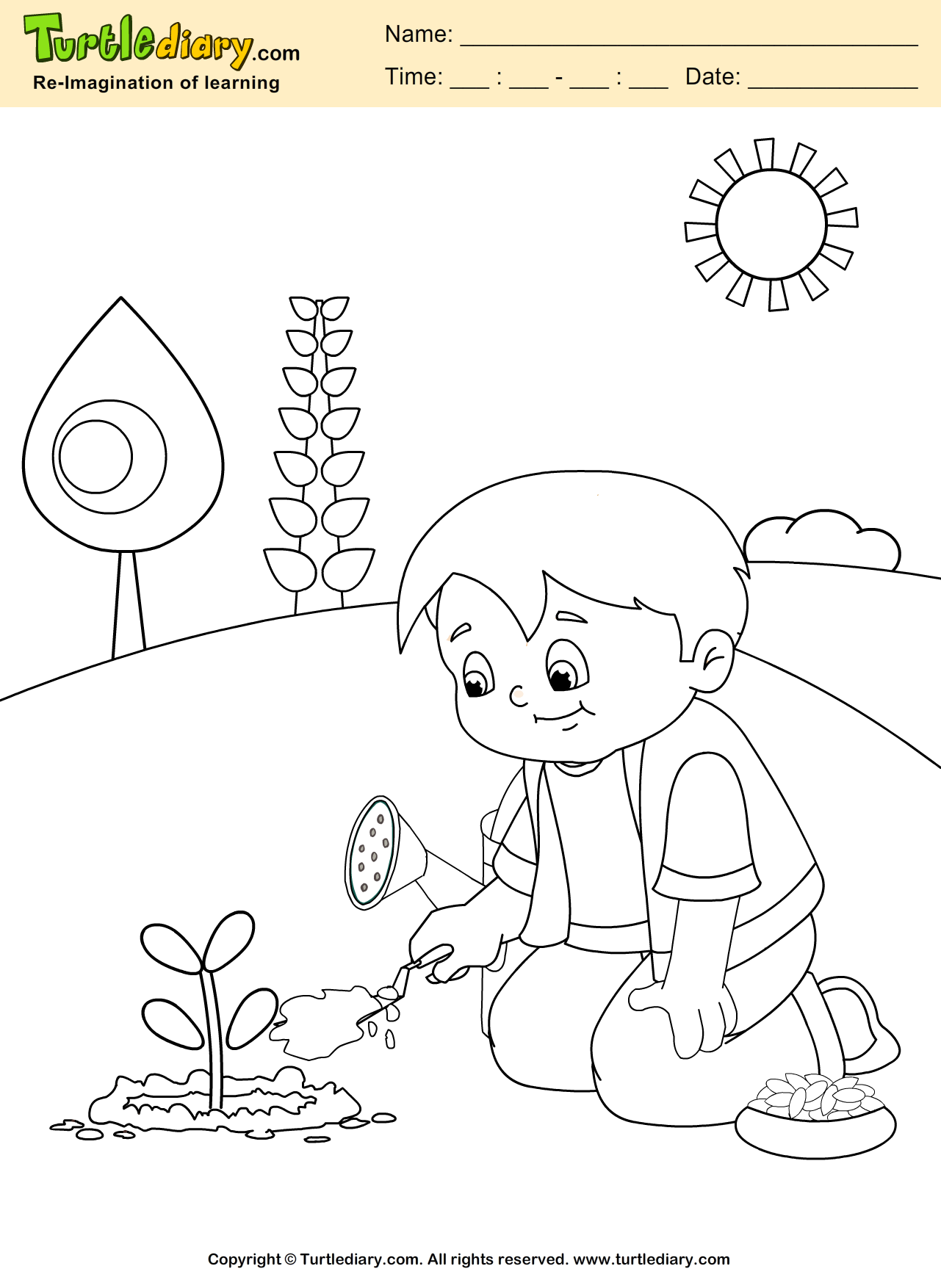Grow Plant Coloring Page Coloring Sheet