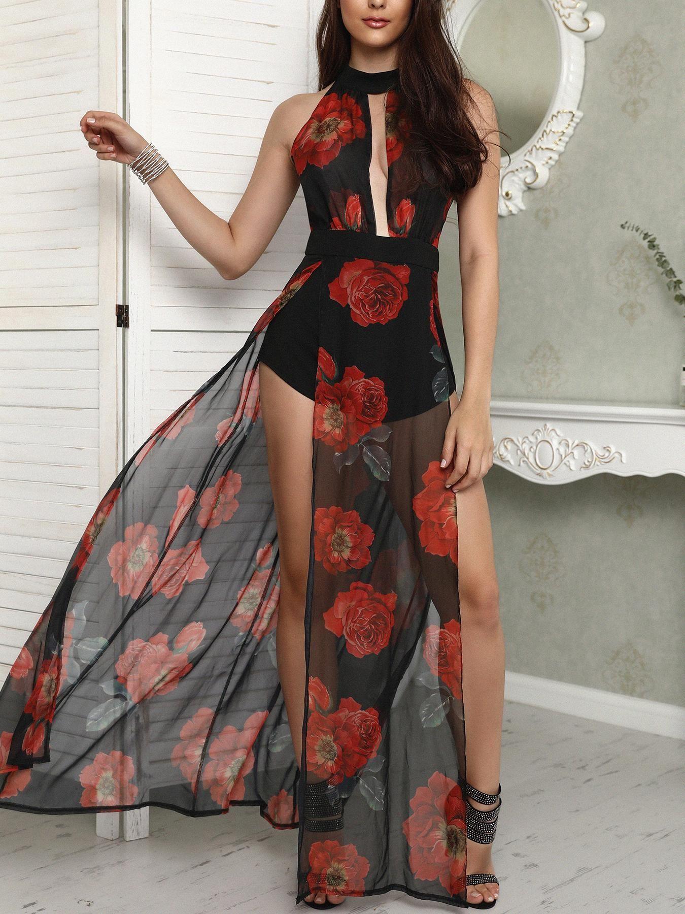 2ea35c52ad69 Floral Print Halter Cutout High Slit Maxi Romper Dress