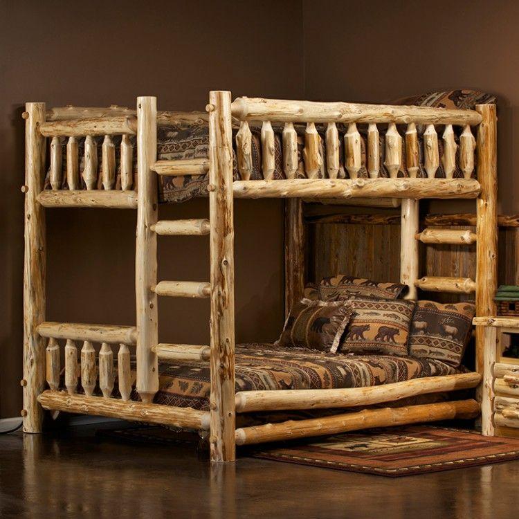 Cedar Lake Queen Over Queen Log Bunk Bed Log Bunk Beds Queen