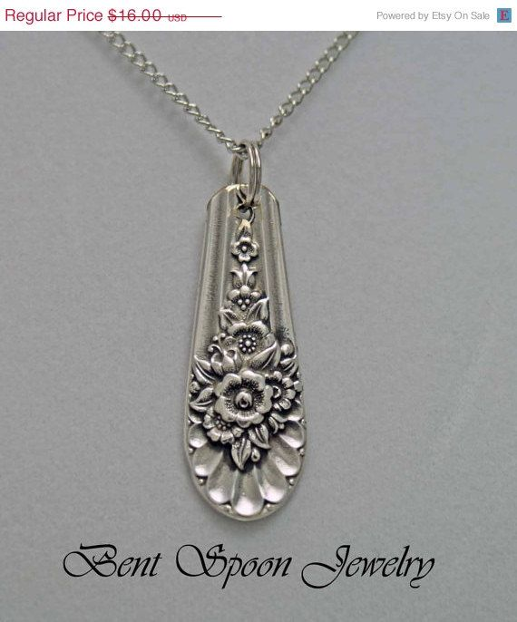 Spoon Jewelry, Spoon NECKLACE Pendant, Silverware Jewelry, Antique Necklace This Handmade silver plated necklace has been created from a vintage spoon. The Beautiful pattern is called ~ Jubilee ~ circa ~ 1953 The pendant measures .75