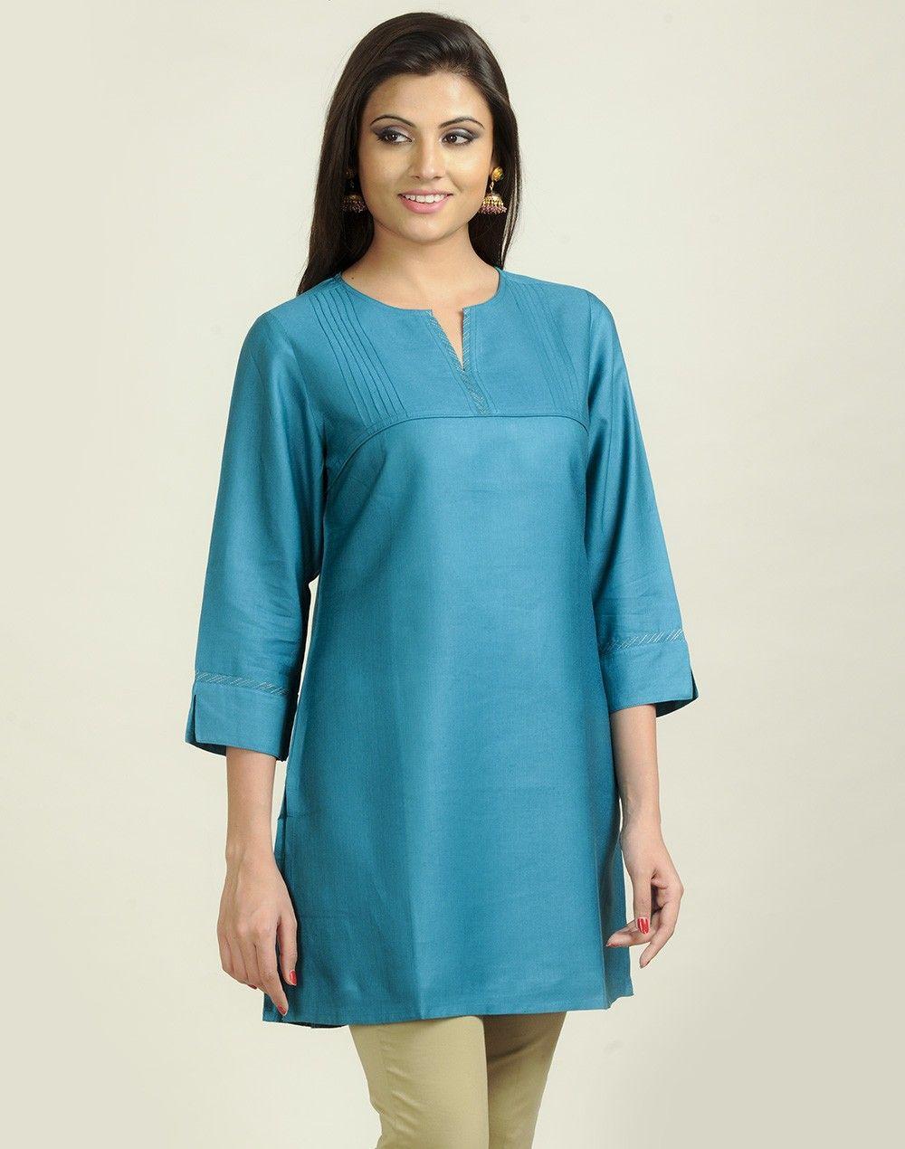 Tussar cotton zari stitch detail tunic salwar patterns for Spa uniform patterns