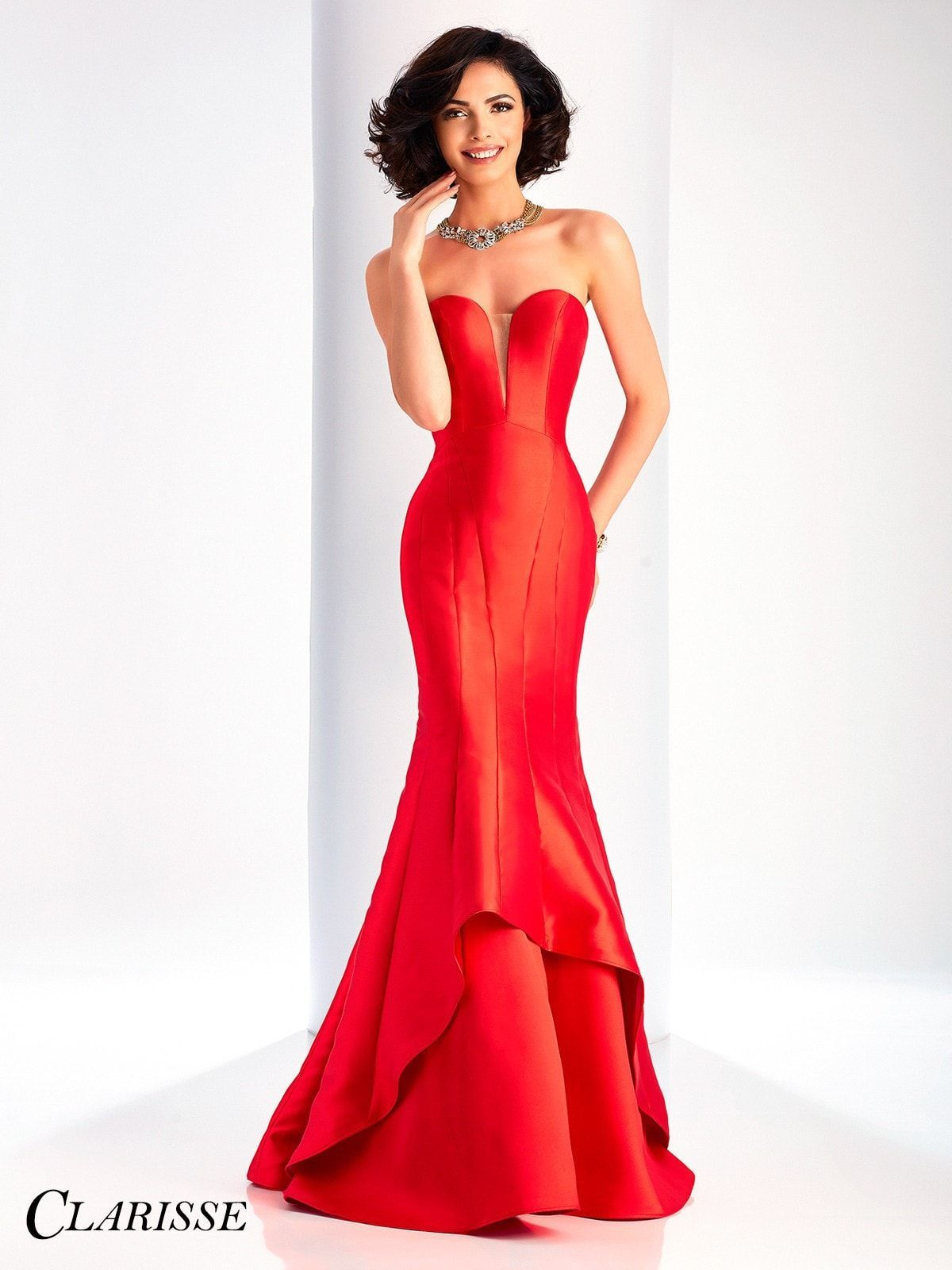 Clarisse Prom 3096 Lipstick Red Strapless Mermaid Prom Dress ...