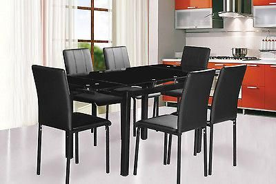 Rectangular Extending Dining Table Black Red With 4 6 Pu Chairs Complete Dining Table Black