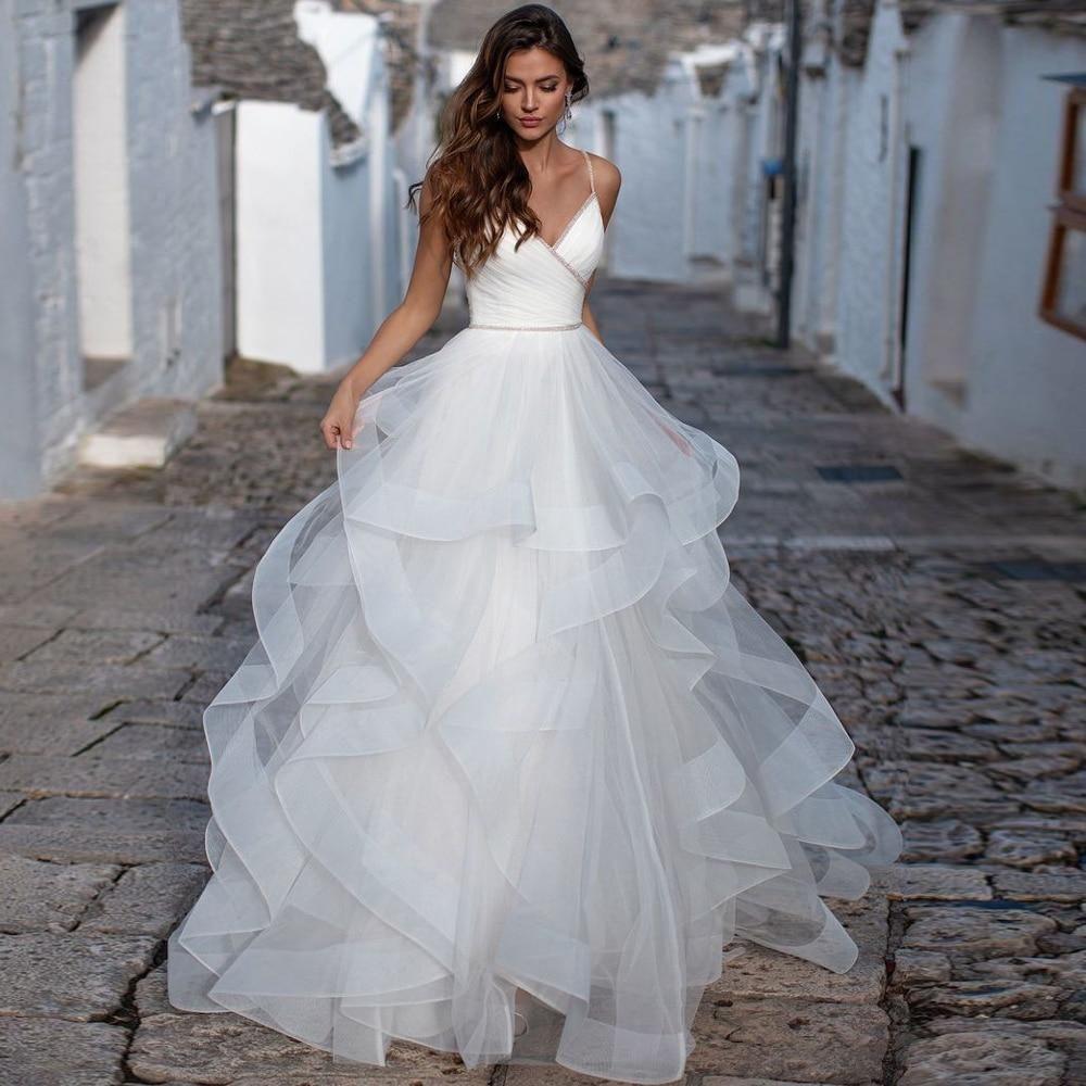 Elegant Spaghetti Straps Aline Wedding Dress in 2020