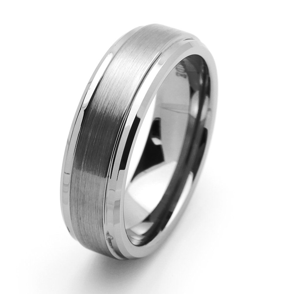 7MM Comfort Fit Tungsten Carbide Wedding Band Beveled Edges For Men ...