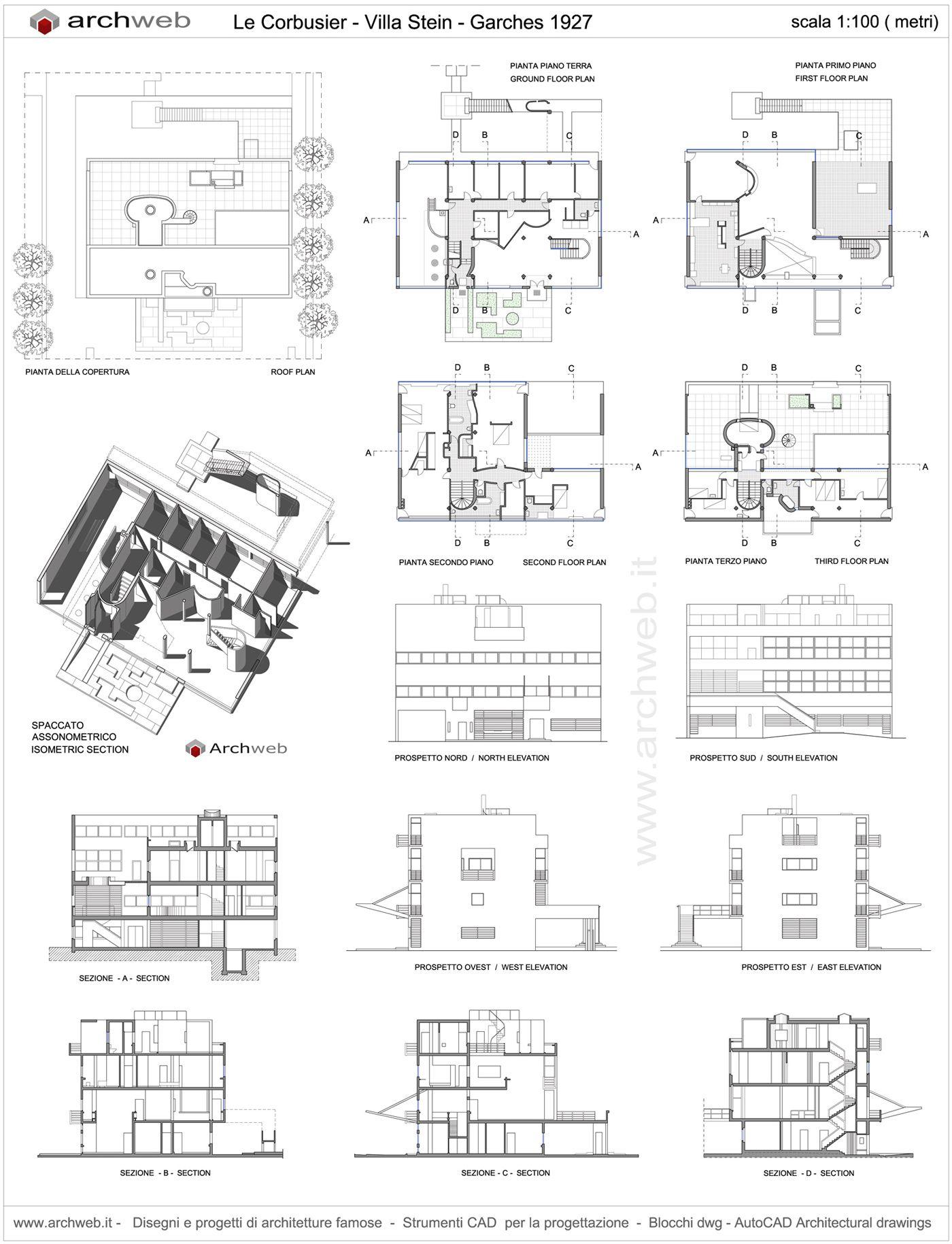 Villa Stein A Garches 1926 Le Corbusier Archweb 2d