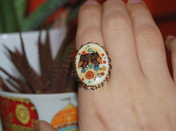 little owl friends vintage ring adjustable gold by Peapodtreasures, $13.00